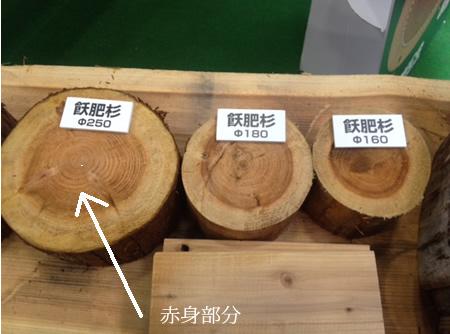 飫肥杉の赤身部分